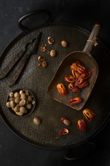 Mace and nutmeg, still life