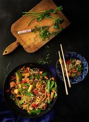 Udon garlic noodles, still life
