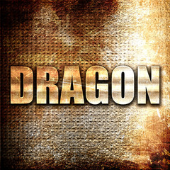 dragon, 3D rendering, metal text on rust background