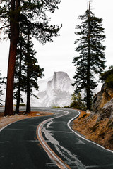 Winding road and glacier point in Yosemite