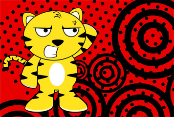 funny young tiger plush cartoon background in vector format very easy to edit