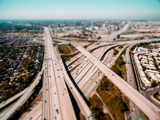 Aerial drone view of freeways in Los Angeles