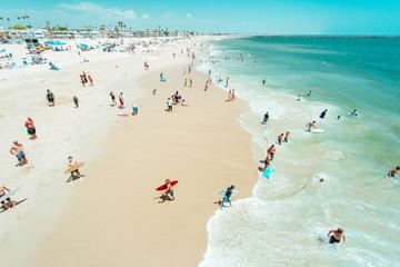 People enjoying beach