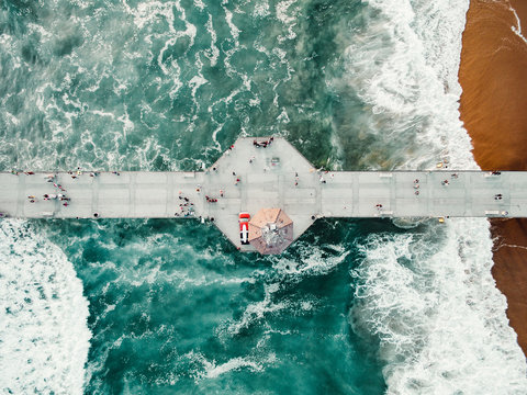 Aerial view of pier in sea