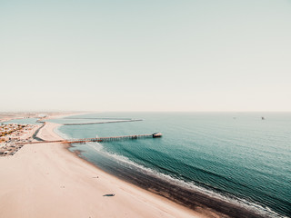 High angle view of pier on shoreline