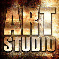 art studio, 3D rendering, metal text on rust background