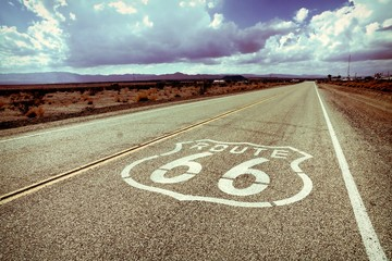 Famous Route 66 road marker on a California highway, USA