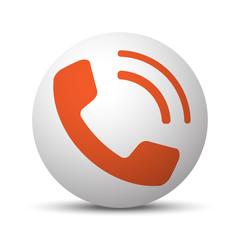 Orange Phone icon on white ball