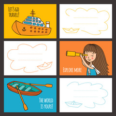 Colorful vector card cute girl and ships.