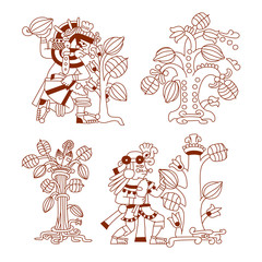 aztec cacao bean, leaves, nibs trees set with decorate borders