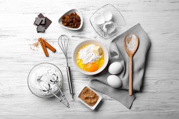 Pie cooking ingredients. Flat lay