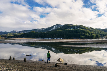 Boy standing by lake with golden retriever puppy dog