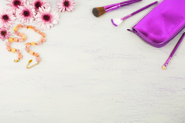 Cosmetic accessories styled background