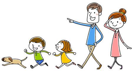 イラスト素材:家族 散歩