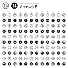 Line and Black Vector Icons - Arrows B