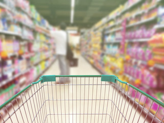 Supermarket blurred background customer with pet food Product sh