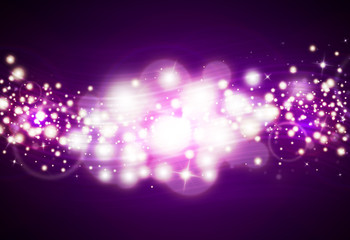 Purple glitter sparkle defocused rays lights bokeh abstract sparkling  background.