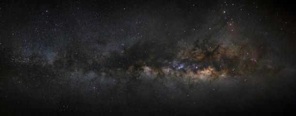 Panorama milky way galaxy, Long exposure photograph,with grain,h