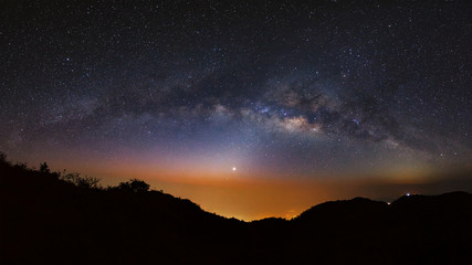 Panorama Milky Way Galaxy at Doi Luang Chiang Dao.Long exposure