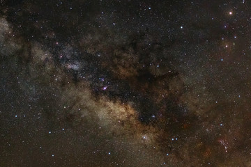Close-up of Milky Way Galaxy,Long exposure photograph, with grai