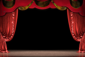 Theater stage with red curtain (with path)