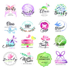 Set of hand drawn watercolor labels for beauty and cosmetics. Vector illustrations for graphic and web design, for cosmetic products, skin care, makeup, beauty center, spa and wellness.