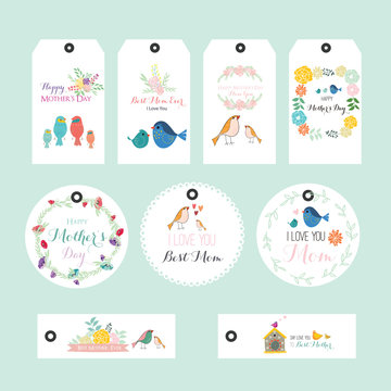 Vector illustration of floral tags. Set of flowers arranged un a shape design for Thank you tags, wedding tags, birthday tags, label, printable
