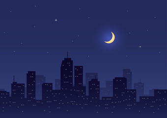 Night city with moon and star
