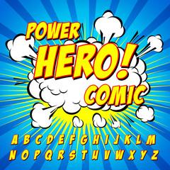 Comic alphabet set. Letters, for kids.
