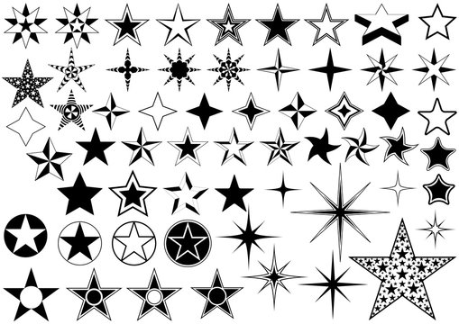 Vector Collection of Star Isolated on White Background - Black Illustration
