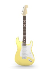 Isolated golden electric guitar on white background.  Musical instrument for rock, blues, metal songs. 3D rendering.