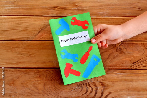 Homemade fathers day greeting card idea child keeps a card in his homemade fathers day greeting card idea child keeps a card in his hand child m4hsunfo