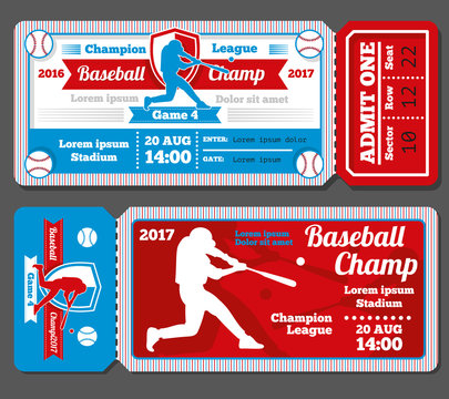 Vintage baseball, sports vector tickets set. Baseball ticket and banner sport ticket game illustration