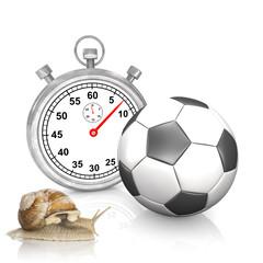 Stoppuhr mit einem Fussball und einer Schnecke - Schneckenfussball
