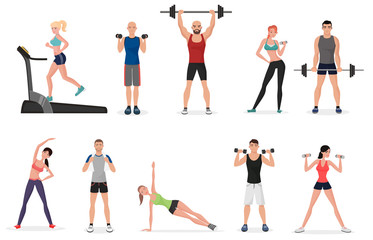 Sport gym people set with dumbbells, barbells and fitness tools. Man and women fitness.