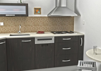 Kitchen 3D rendering