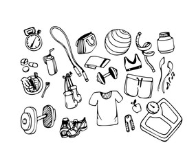 Vector Hand drawn icons set of fitness and sport concept for healthy lifestyle, diet.