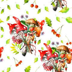 Watercolor seamless pattern - a bunch of mushroom, mushrooms, leaves, berries, mountain ash, oak leaves, mushroom