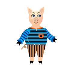 Happy pig in a striped blouse