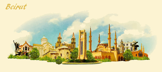 vector panoramic water color illustration of BEIRUT city