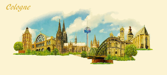 vector panoramic water color illustration of COLOGNE city