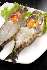 Grilled prawns, made with the giant river prawn