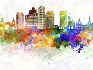 Wall Mural - San Diego skyline in watercolor background