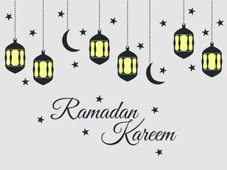 Ramadan Kareem, lantern and moon, muslim holiday lights on a light background. Vector.