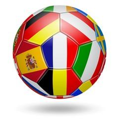 Football. Euro. Drapeaux des pays qualifiés