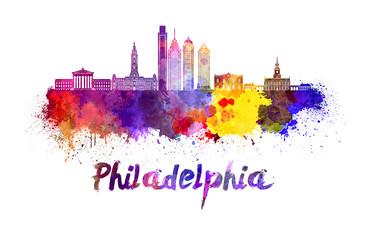 Philadelphia skyline in watercolor