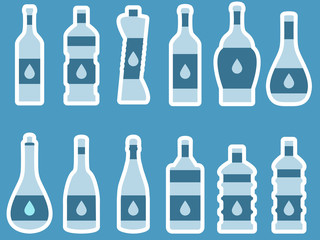 Bottle. Bottle of water. Bottle with stroke, glass with drinking straw. Vector illustration.