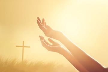 Leinwandbilder - Respect and pray on the cross and nature sunset background