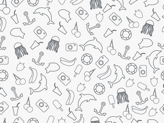 Seamless summer pattern, summer seamless background, summer pattern with fruit and summer objects, many elements of the pattern. Monochrome.