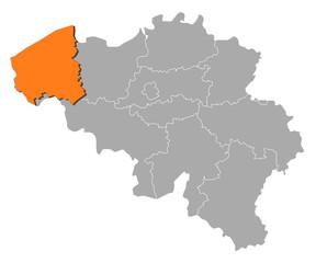 Map - Belgium, West Flanders